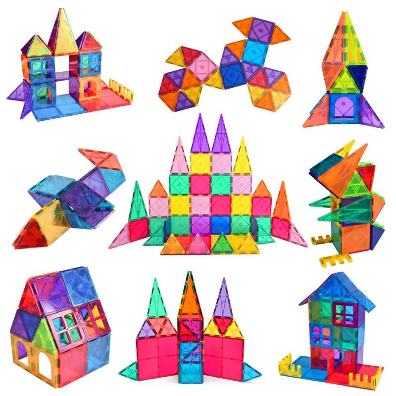 Лидер продаж 2020, Новые магнитные плитки, большой размер, магнитные строительные блоки, наборы обучающих игрушек для детей, подарки, Прямая п...