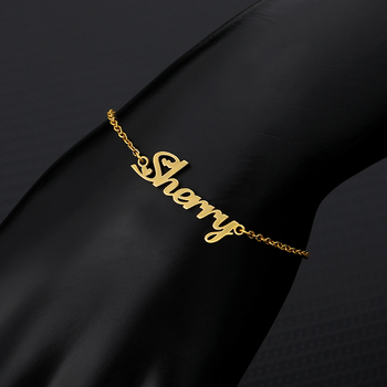 Custom Personalized Name Bracelet Best Friends Gift Fashion Jewelry Gold Silver Pulseira Masculina Nameplate Hand Link Bracelets