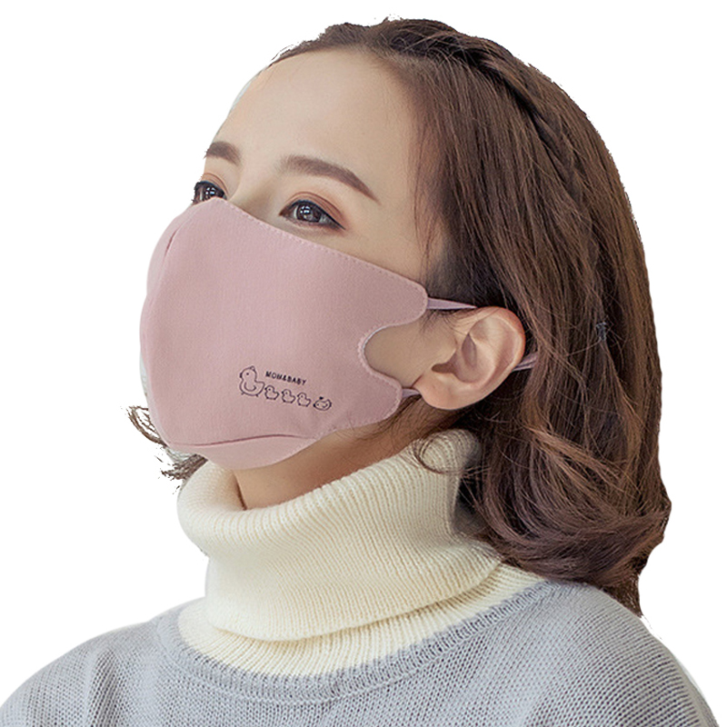 Women Fashion Cotton Mouth Mask Girls Cute Chicken Print Face Mouth Mask Anti-frog Thick Warm Lovely Pink Mouth Mask