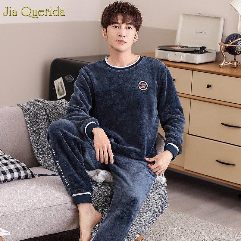 Pajama Set Flannel Winter Luxury Men Home Clothing Sporty Mens Pyjamas Long Sleeves Thick Warm Pajamas Fashion Male's Sleepwear