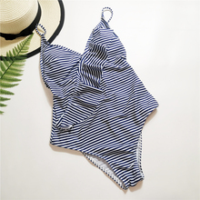 Blue and White Stripes One-piece Swimsuit Women Ruffle Ruched Monokini Backless 2019 Sexy Swimwear Female Beach Bathing Suits white stripes bodycon swimsuit