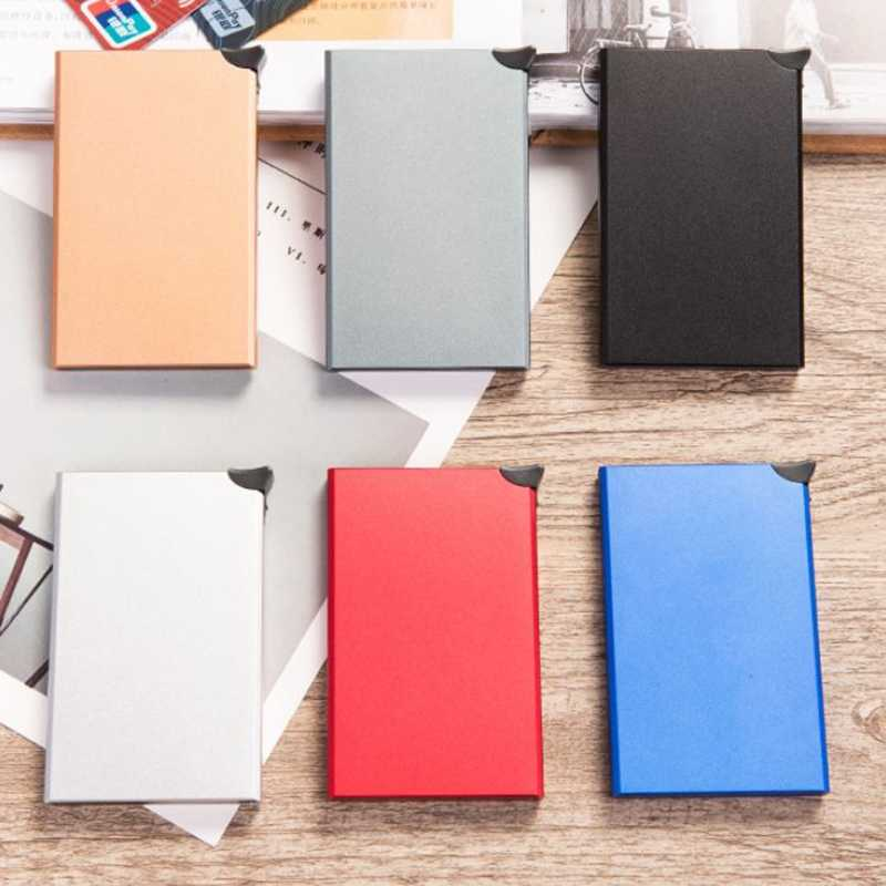 2019 Men and Women Aluminum Automatic Credit ID Card Holders Pop Up Brocking Card Wallet Travel Case Anti Protection Cardholder
