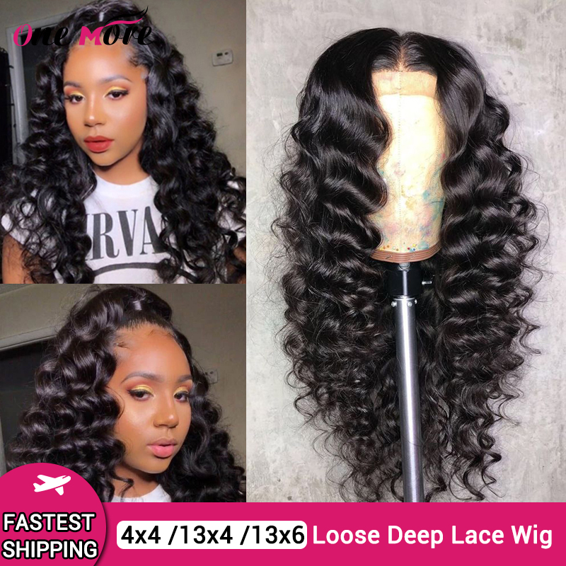 Brazilian Loose Deep Wave Lace Front Human Hair Wigs For Black Women Pre Plucked 13x6 Lace Frontal Wig 180% 4x4 Closure Wig