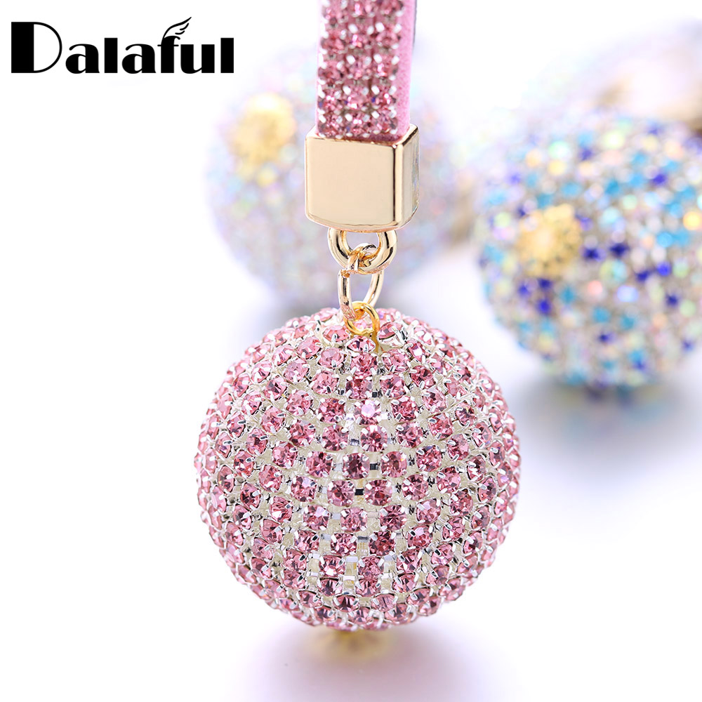 Full Ball Crystal Keychain Rhinestone Leather Strap High Quality Handbag Purse Bag Pendant Charm Keyring For Car Key Chain K399
