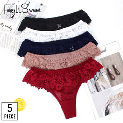 FallSweet 5 pcs/lot ! G-String Thong Panties T Back Lace Lingerie Femmer Sexy Underwear Women Briefs Low Waist S to XL