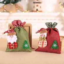 Linen Christmas Candy Gift Storage Bag for Children Biscuits Gift Packaging Storage Pouch Xmas Decor