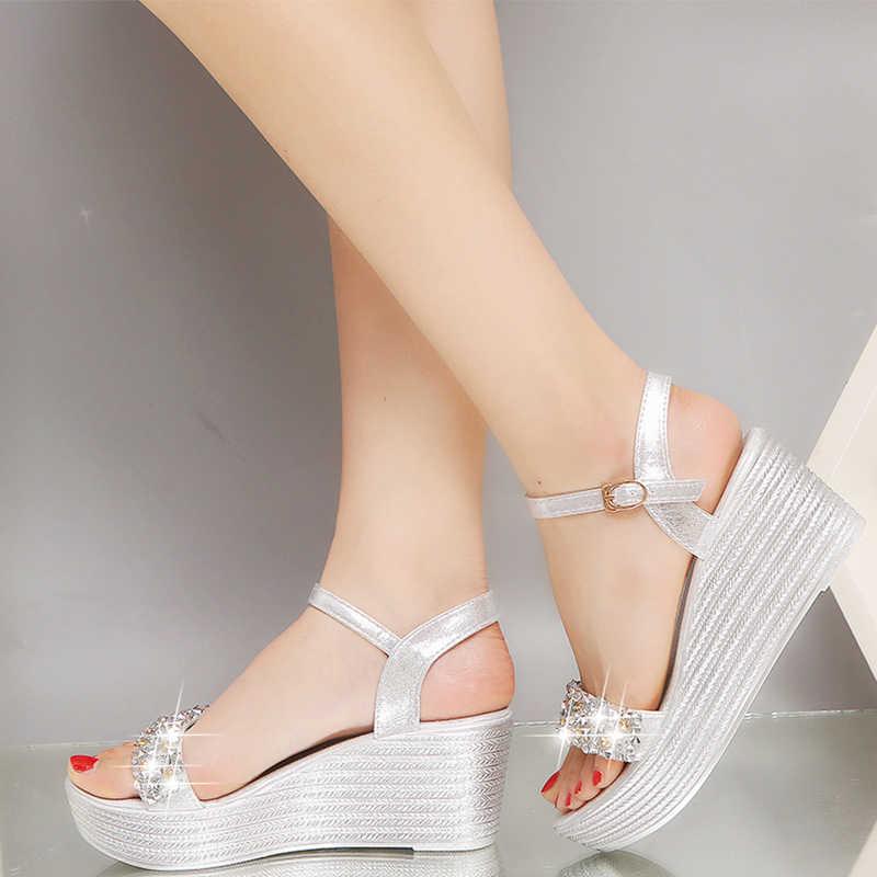 2020 kadın taklidi sandalet platformu kadın ayak bileği kayışı ayakkabı kadın moda takozlar bayanlar açık ayak düz rahat ayakkabı