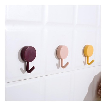 Solid Color Small Clothes Hooks Mounted Wall Hook Decorative Key Hanger Minimalist PP image