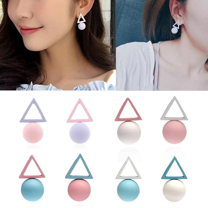Triangle Ball Ear Korean Geometric Studs Asymmetry Color Women Earrings Fashion Jewelry Candy Pendants
