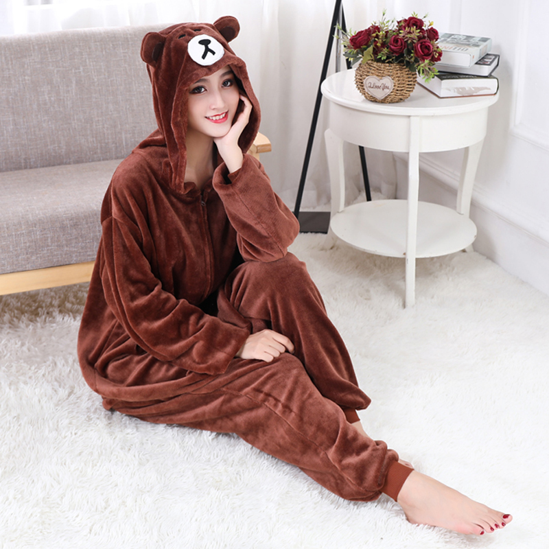 Brown Onesie Women Men Adult Animal Bear Kigurumis Zipper Flannel Pajama Winter Warm Sleepwear XXL  Suit Funny Festival Overalls