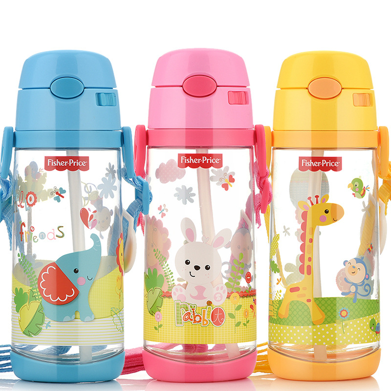 FISHER-PRICE Summer Cup With Straw Children Portable Water Bottle Creative Cartoon Seal Leak-Proof Back Water Cup 550 Ml
