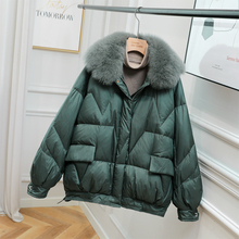 Fitaylor Winter Fox Fur Collar Puffer Short Jacket Women 90% White Duck Down  Loose Coat Female Thick Parker Warm Snow Outwear