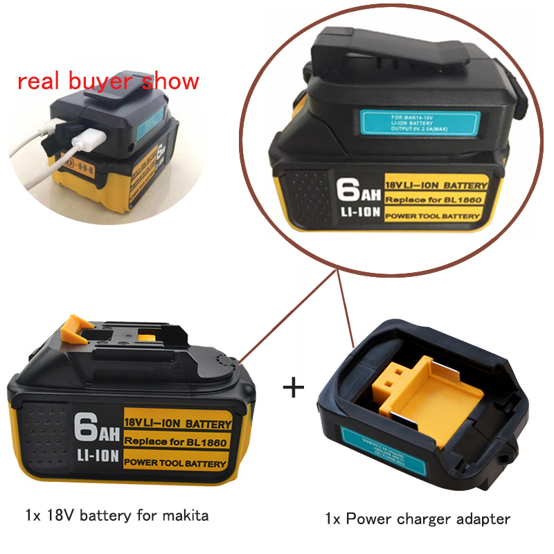 5Ah 6Ah Li-ion <font><b>Battery</b></font> For <font><b>Makita</b></font> <font><b>18V</b></font> <font><b>Battery</b></font> BL1860 BL1850 BL1840 194205-3 Power Tool With LED light + USB Charger Adapter image