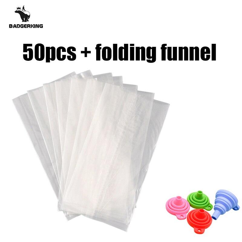 50pcs/lot  PVA Bags For Carp Fishing Fast Dissolving Environmental Water-soluble Bag Buy 2lots Get Folding Funnel Free