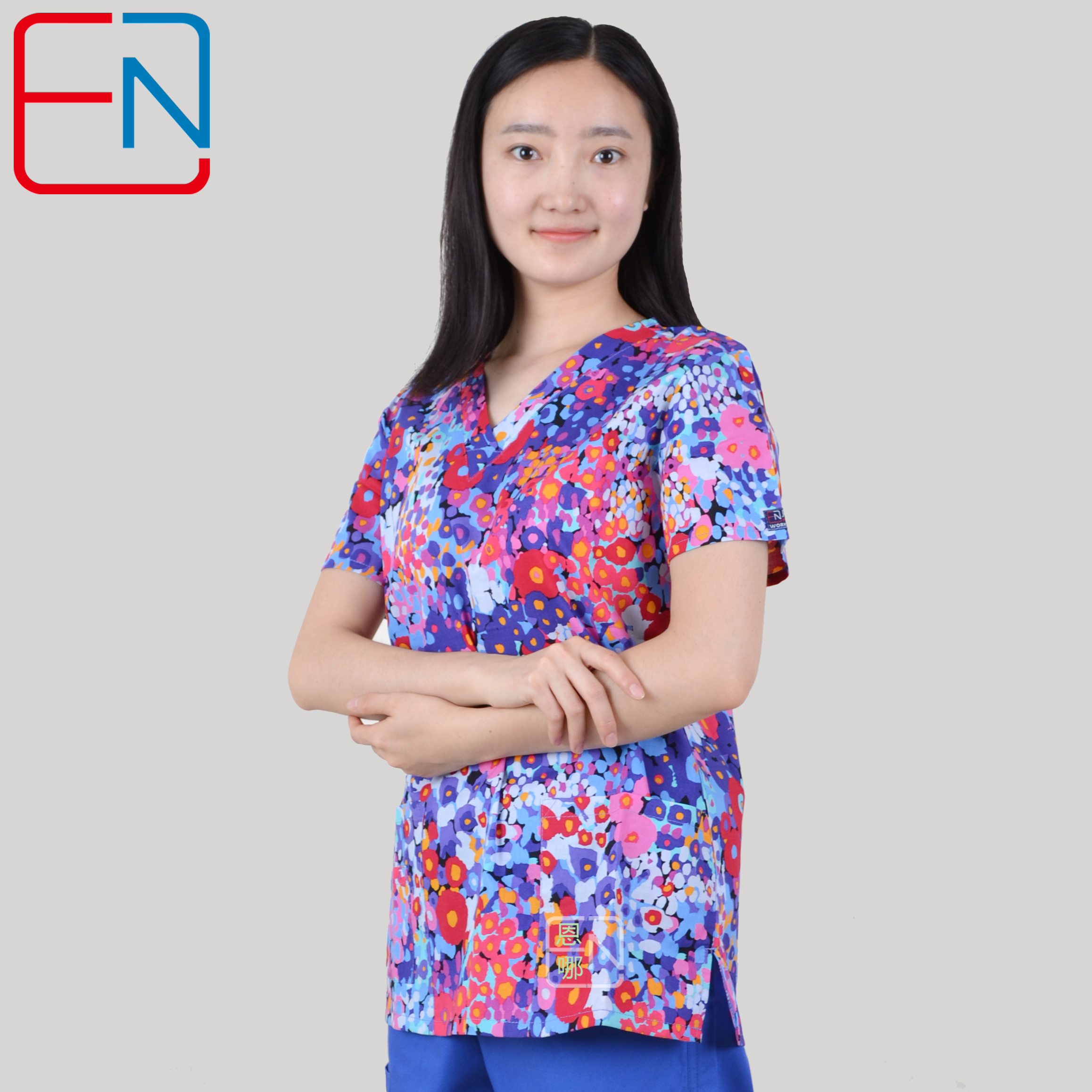 Hennar Hennar Medical Uniforms For Women V-Neck 100% Cotton Surgical Scrubs Top Print Hospital Medical Nurse Scrub Tops