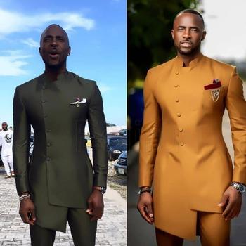 Moroccan Caftan African Satin Wedding Suit Men's Clothing Slim Fit Groomsmen Suit Business Wear Formal Tuxedo Bespoke Suit Men's Kaftan 2PCS 1