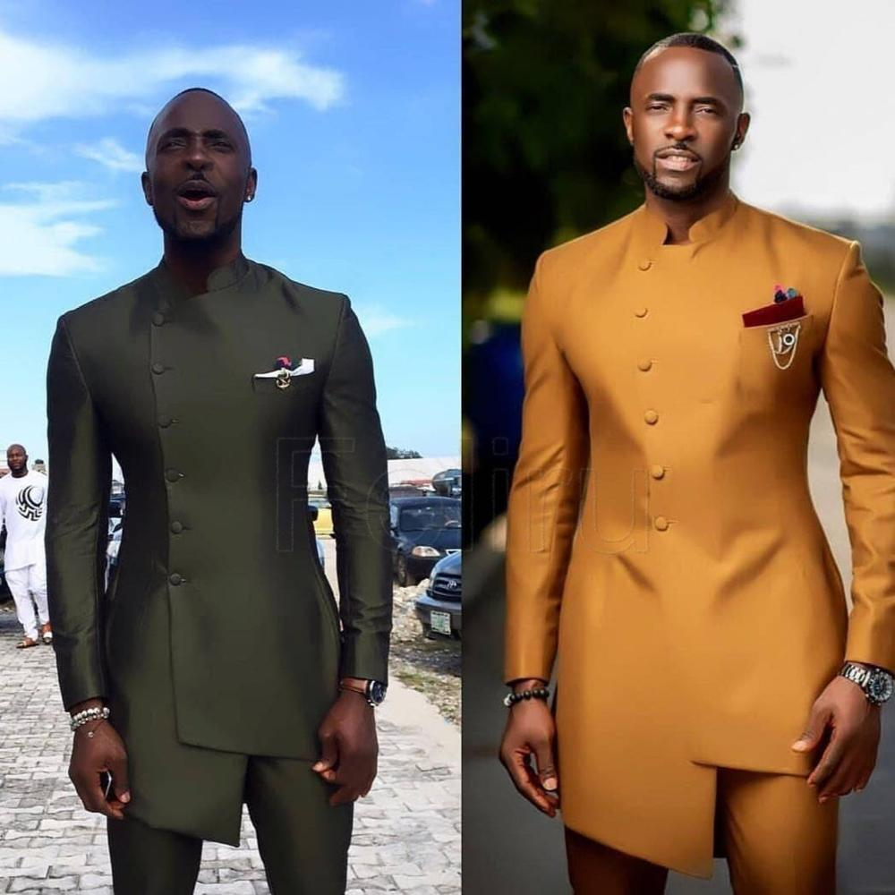 African Satin Wedding Suit Mens Clothing Slim Fit Groomsmen Suit Business Wear Formal Tuxedo Bespoke Suit Mens Kaftan 2PCS
