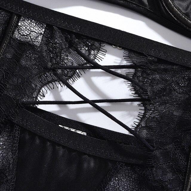 Sexy Lace Eyelash Stitching Gathered Body Shaping Lingerie Set #L1442 4