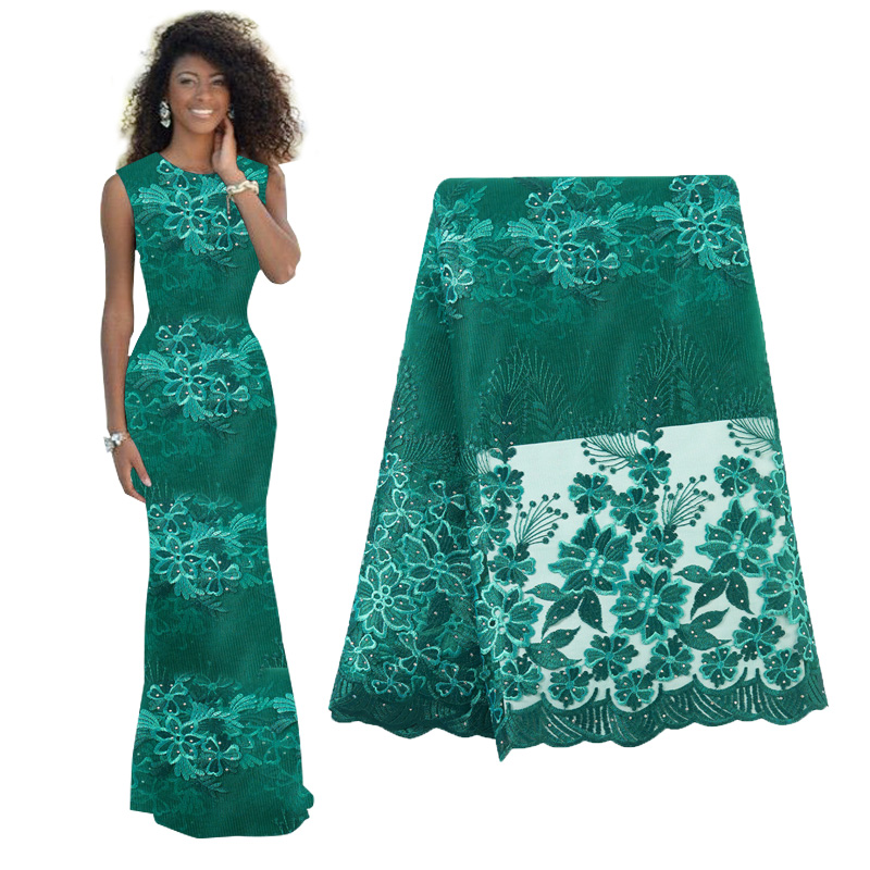 African Lace Fabric With Sequins 2019 Hot Sequins Fabric High Quality Tulle Sequins Lace Fabric For Evening