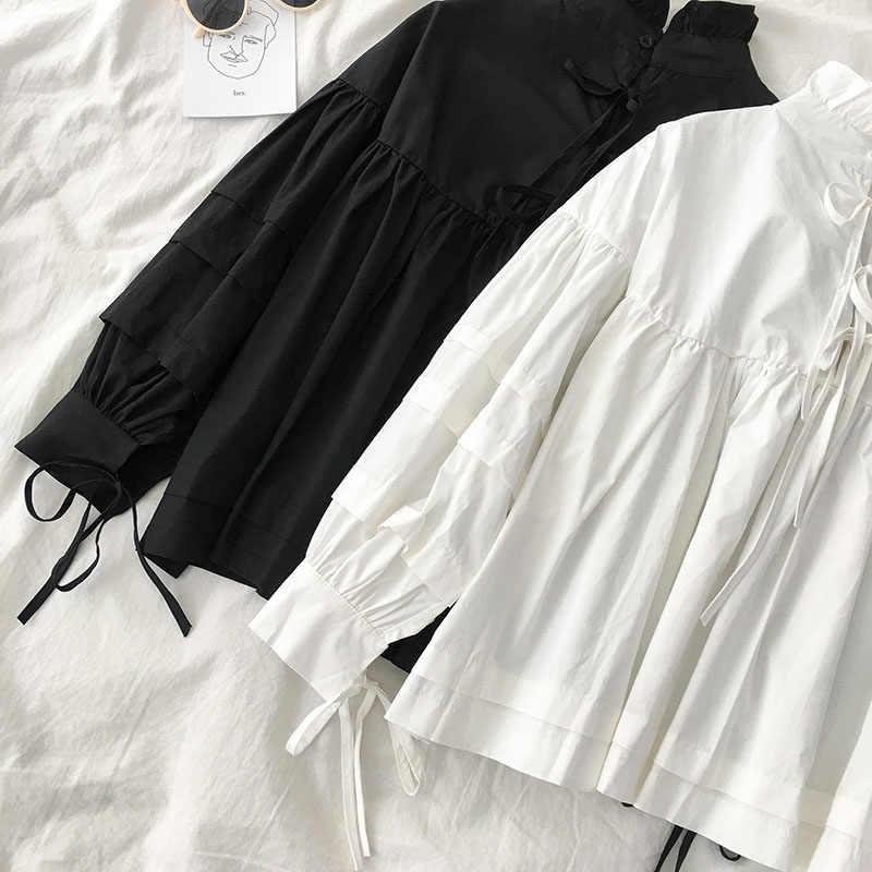 Gagaok بلوزة نسائية للربيع والخريف بلوزة جديدة صلبة بأكمام منفوخة وأربطة فضفاضة غير رسمية قمصان نسائية على الموضة