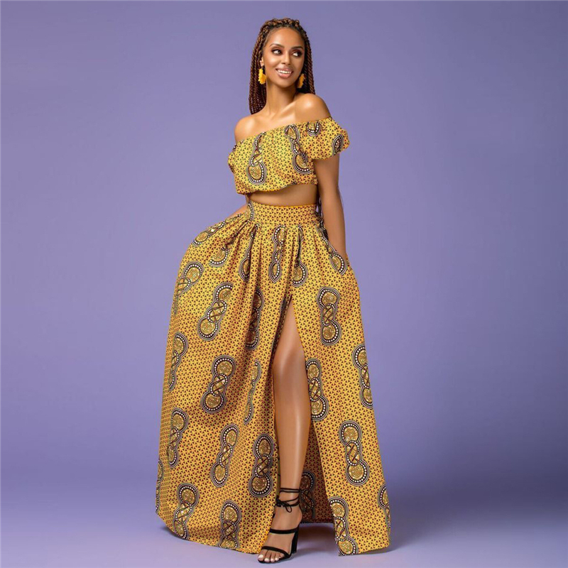 @Hadja Shoulder Off & African yellow Skirt