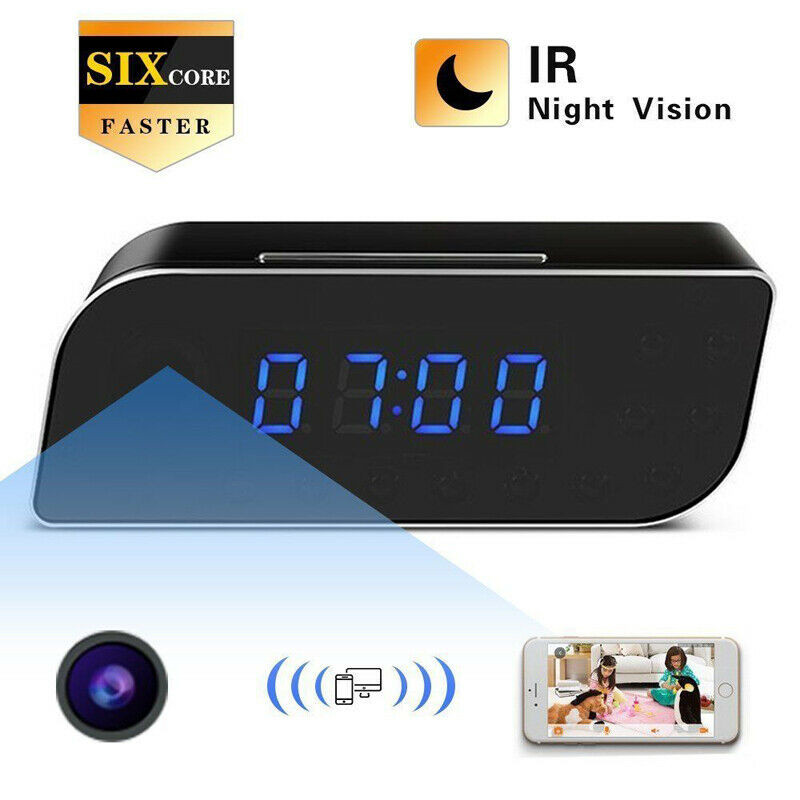 FISTAK Alarm Clock Camera WiFi Wireless IP Night Vision Outdoor HD 1080P Surveillance Camera Smart Home Security Camera