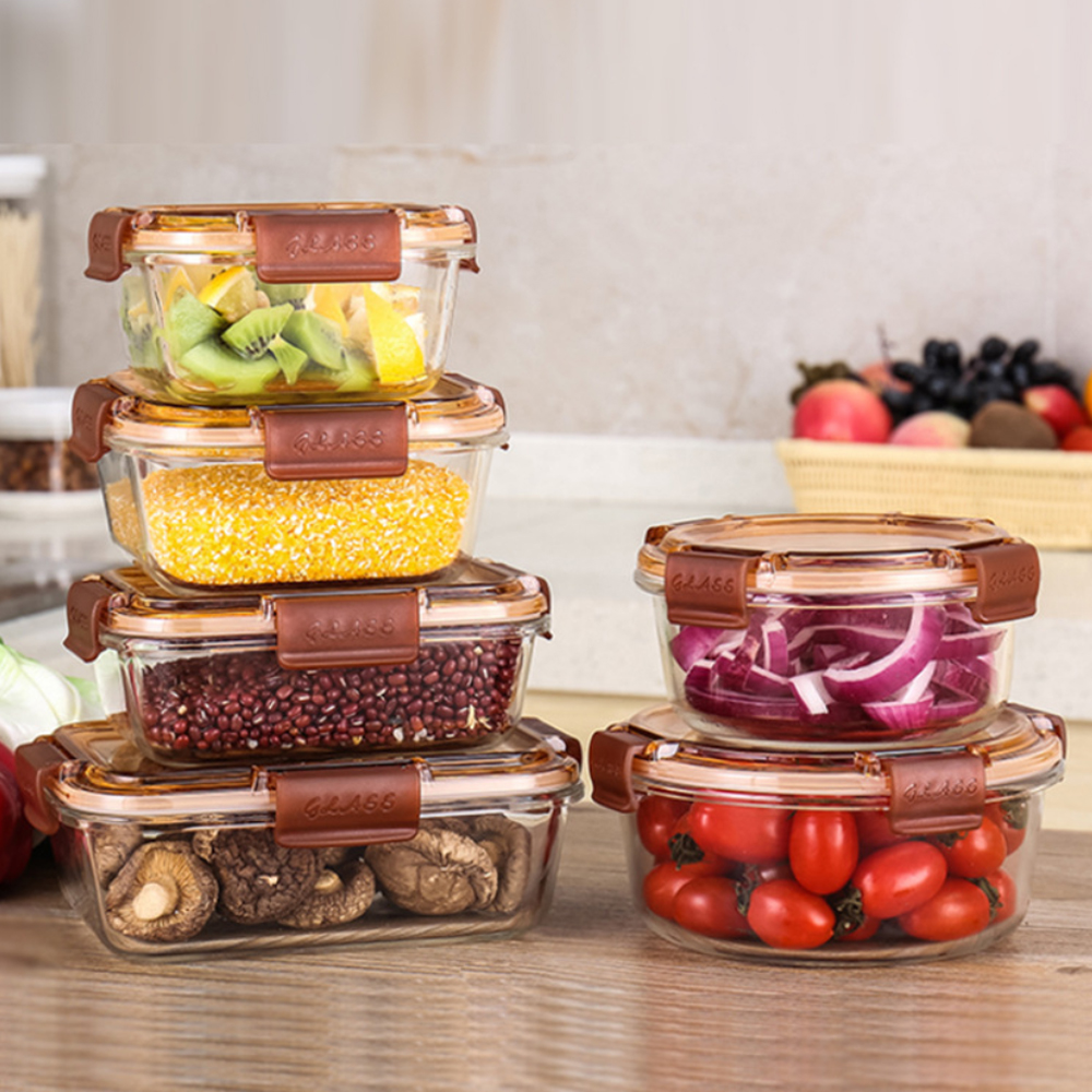 Glass Lunch Box Food Container Food Storage Box Bento Microwave Oven Heating Refrigerated Sealed Leakproof  With Lid School Kids