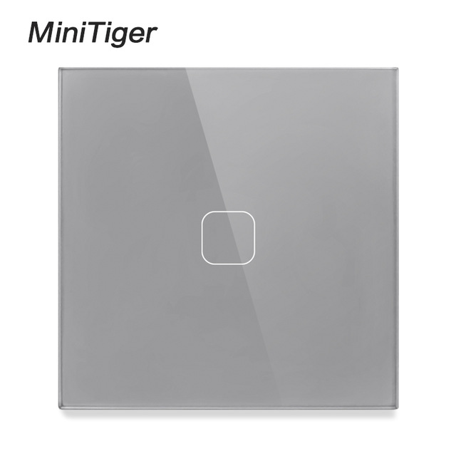 Minitiger Luxury Wall Touch Sensor Switch EU/UK Standard Light Gray Crystal Glass Touch Switch Power 1/2/3 Gang 1 Way AC 220 5