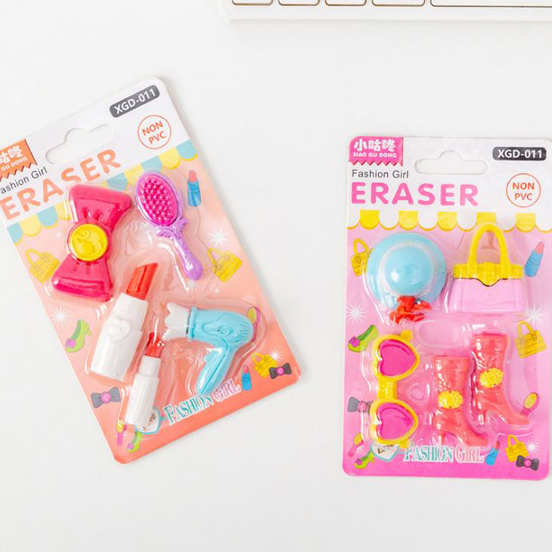 5 Pcs/pack Kawaii Girls Cosmetic Tools Erasers Lipstick Hairdryer Comb Bag Rubber Pencil Erasers Students Stationery Gifts