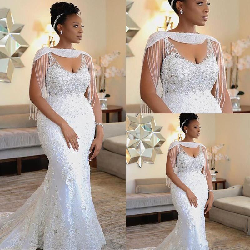 2020 African Black Girls Mermaid Wedding Dresses With Tassel Shoulder Unique Lace Beads Sexy Wedding Gowns For Bride Sweep Train