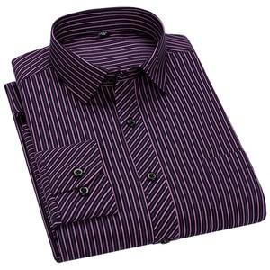 Image 4 - Mężczyźni Business Casual długi rękaw koszula klasyczne paski męskie koszula na przyjęcia towarzyskie koszule Slim Fit duży rozmiar 2XL 3XL 4XL fioletowy