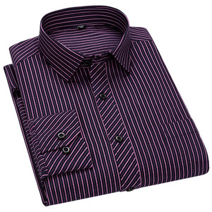 Image 4 - Men Business Casual Long Sleeved Shirt Classic Striped Male Social Dress Shirts Slim Fit Large Size 2XL 3XL 4XL Purple