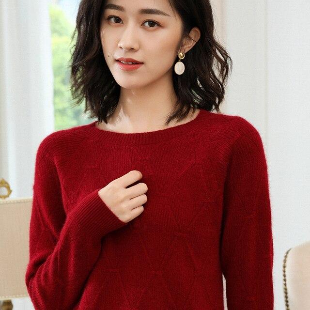 100% kaszmirowy sweter z dzianiny damskie swetry 5 kolorów O Neck nowy moda damska swetry standardowe ubrania