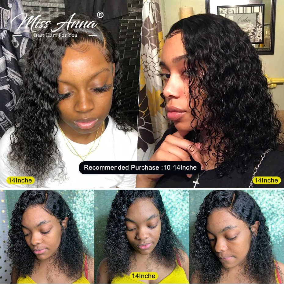 Missanna Jerry Keriting Renda Depan Rambut Manusia Wig dengan Bayi Rambut Brasil Remy Rambut Keriting Pendek Bob Wig untuk Wanita digunakan Dipetik Wig