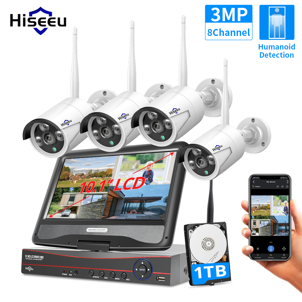 Hiseeu 8CH 3MP Wireless Surveillance Camera CCTV Kit with 10.1