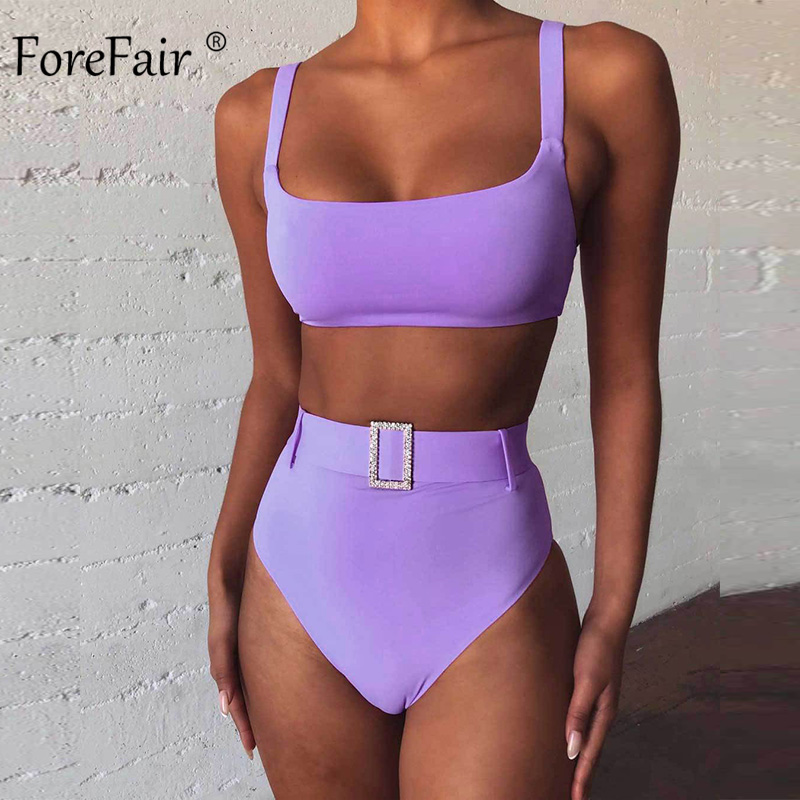 Forefair Seperate Sexy High Waist Bikini Women Swimwear Set Solid Push Up Waist Belt Summer Beach 2020 Womens Bikini