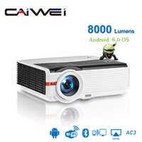Caiwei A9/A9AB inteligente Android 6,0 WiFi LED 1080p proyector de cine en casa 8000 Lumens Full HD Video móvil Beamer para teléfono inteligente TV
