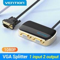 Vention-Divisor VGA de 1 en 2 salidas, divisor de Audio macho a 2 hembra con Cable de alimentación para proyector, interruptor VGA, 1 unidad, 2 monitores