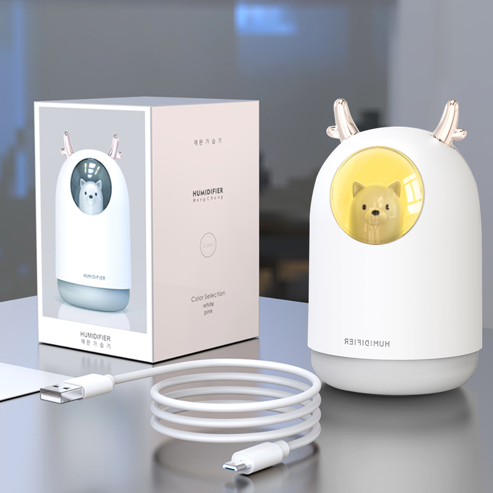 300ml Car Humidifier Air Purifier Freshener Purfume Oil Diffuser LED Bear Ambient Light Decoration Automobile 4x4 Accessories