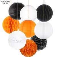 9pcs Paper Lanterns Set Decorative Paper Pompoms Flower Hanging Honeycomb Balls Wedding/Birthday/Christmas/Halloween Party Decor