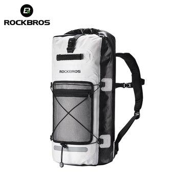 Bolsa de bicicleta a prueba de lluvia ROCKBROS 28L de gran capacidad Bick bolsa de ciclismo plegable de almacenamiento al aire libre mochila impermeable Pannier