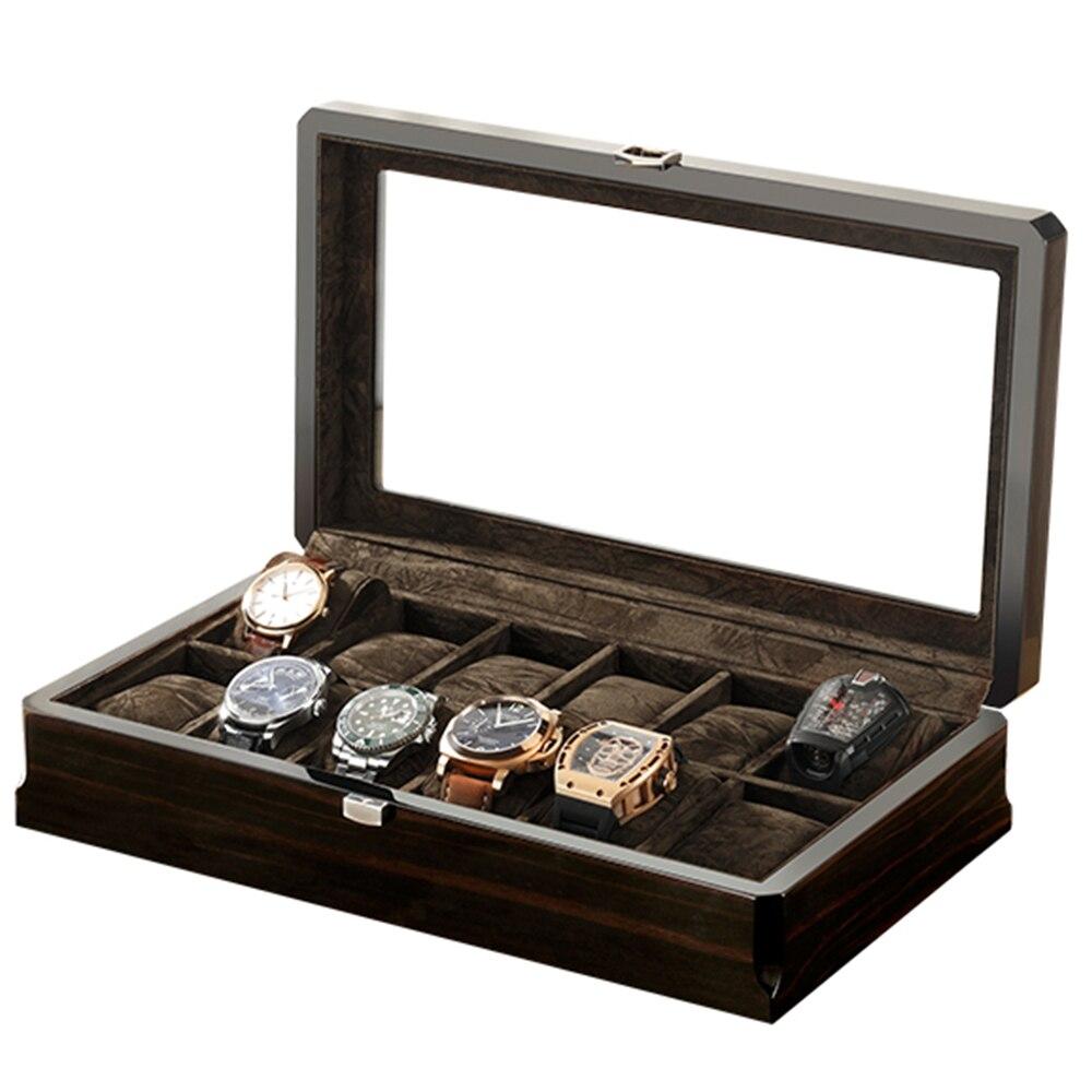 Élégant noir montre boîte bois montre emballage boîte Piano laque affichage 12 positions stockage horloge porte-bijoux boîte exquise