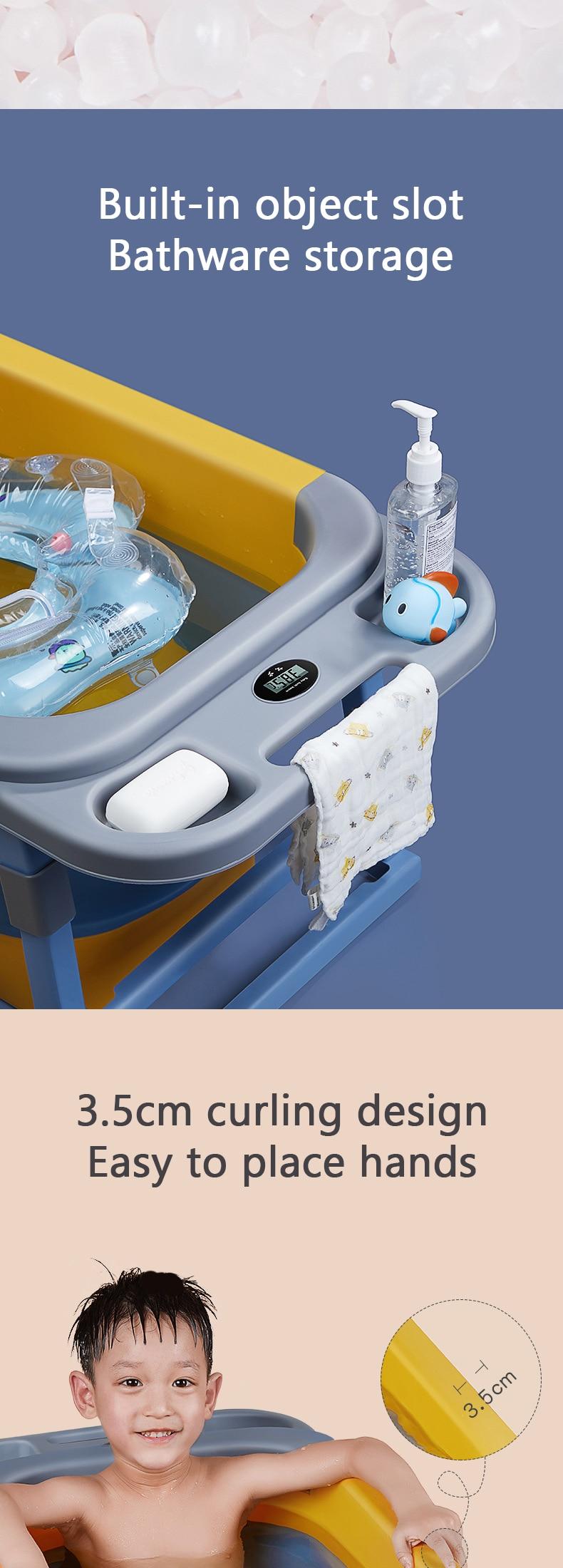 Banheira de banho crianças dobrável banheira temperatura