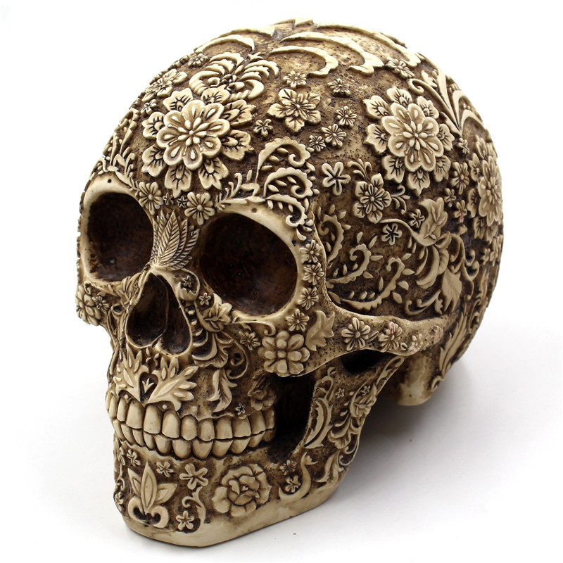 Resin Carve patterns Skull Decoration Car Ornaments Car Interior Accessories Decoration Birthday Gift Home