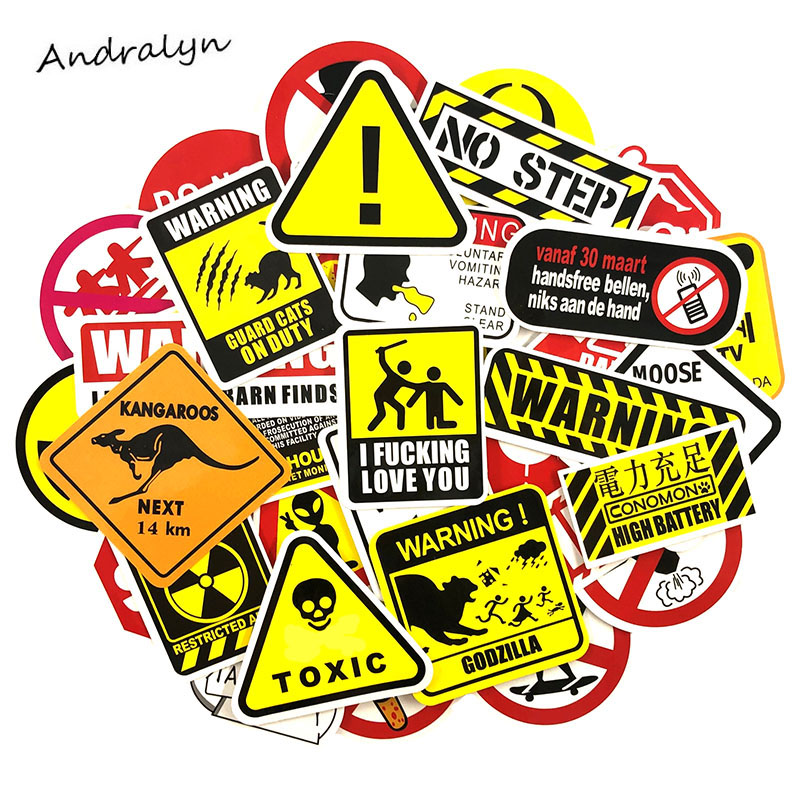 50 Pcs/Set Road Signs Warning Graffiti Sticker For Laptop Guitar Motocycle Luggage Skateboard Helmet Surfboard Bicycle Stickers