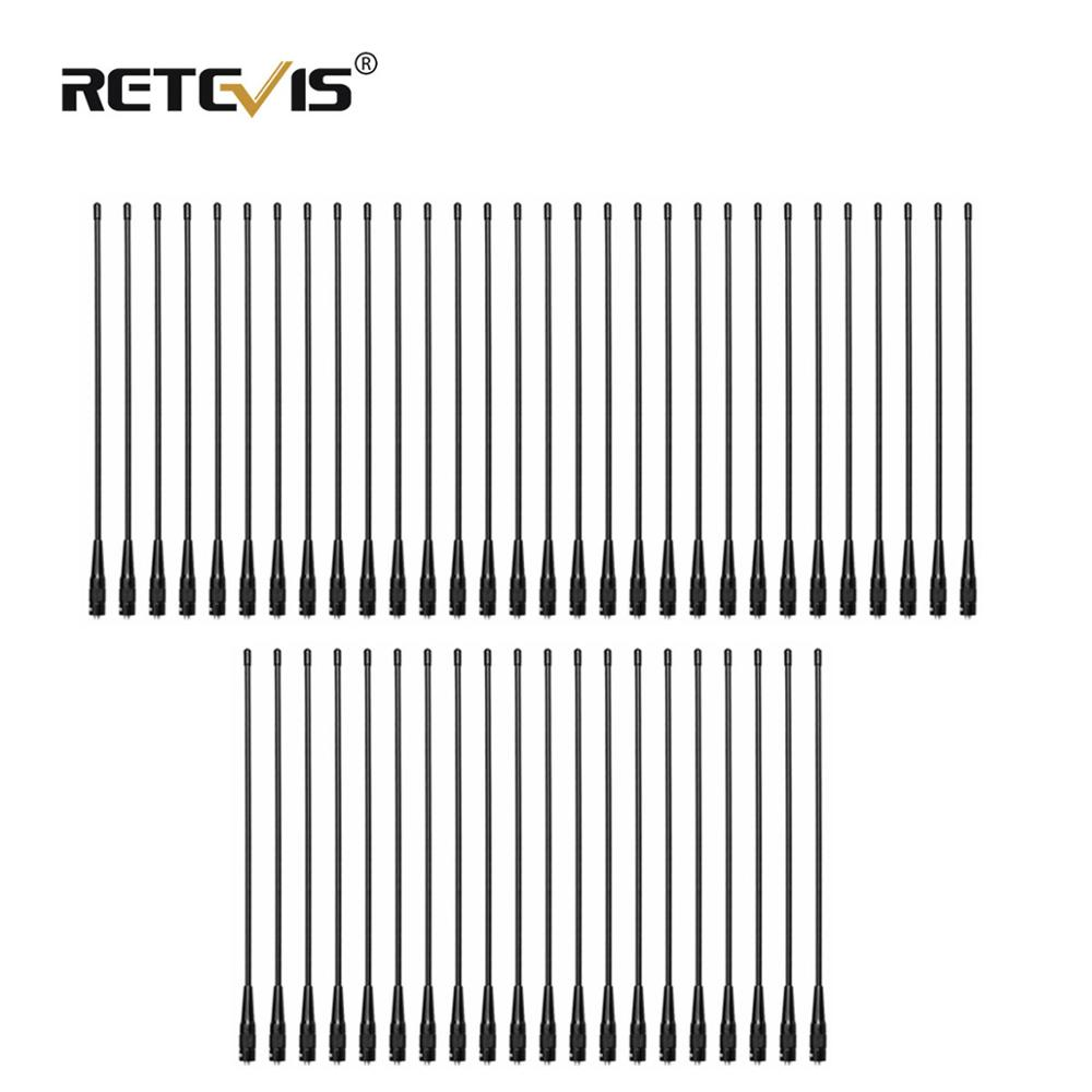 50pcs RETEVIS RHD-771 SMA-F Walkie Talkie Antenna VHF UHF Dual Band 39cm For Kenwood Retevis H777 RT5R Baofeng UV5R 888S UV-82