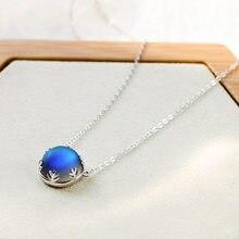 Collier en argent 925 pour femmes, bijoux, cadeau, lune, aurore, pendentif Halo, cristal, pierres précieuses