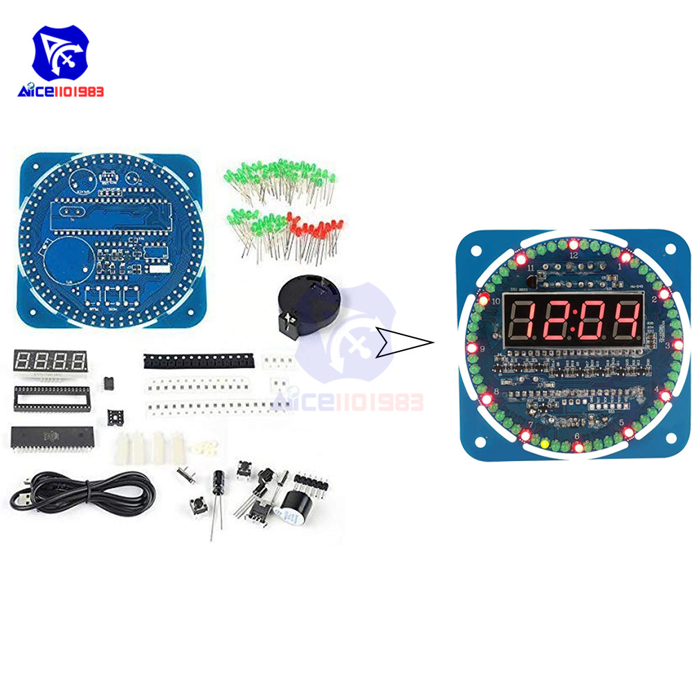diymore <font><b>DS1302</b></font> <font><b>Clock</b></font> Module Rotating LED Electronic Board for Arduino 51 SCM Learning Board 5V image