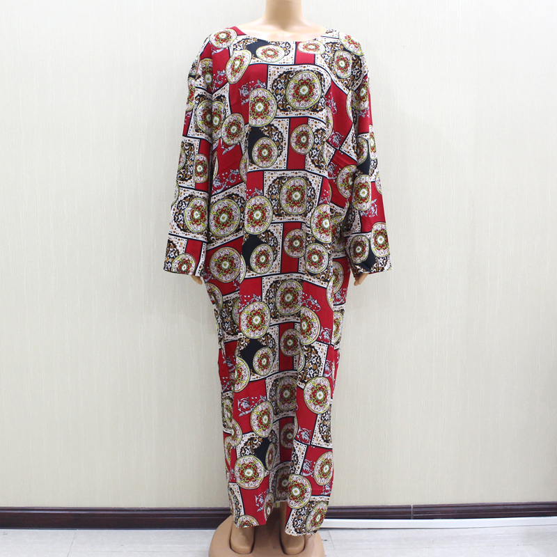 2020 African Fashion Design New Arrival Red Print Cotton Material O-Neck Long Sleeve Long Dess African Casual Dresses For Women