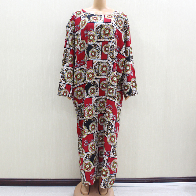 2020 African Fashion Design New Arrival Red Print Cotton Material O Neck Long Sleeve Long Dess African Casual Dresses For Women